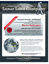MOON LUNAR LAND  * BUY YOUR OWN PIECE OF LAND ON THE MOON *DEEDS CERTIFICATE*