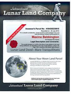 MOON LUNAR LAND  * BUY YOUR LUNAR LAND ON THE MOON *FUN BIRTHDAY OR XMAS GIFT