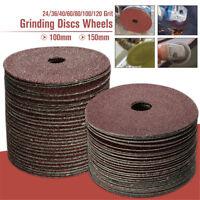 50PC 100/115mm Fibre Sanding Grinding Discs Wheels 24-120 Grit For Angle Grinder