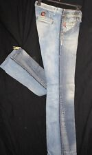 MISS SIXTY Destroyed Italian JEANS Raw Edgy Sexy Denim Low Rise Boot Cut  26