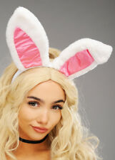 Womens Deluxe White Plush Bunny Ears