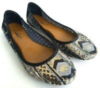 Lucky Brand Sequin Ballet Flats Womens Size 8.5 Slip On Shoes Black/Silver/Gold