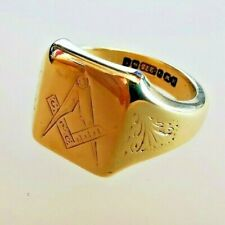More details for vintage masonic solid gold pinky signet ring, hallmarked 9ct gold, free p&p #ml