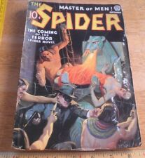 The Spider Master of Men pulp Sep 1936 ORIGINAL SEXY cat god breathing fire