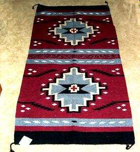 "Throw Rug / Tapestry Southwestern  Heavyweight 32x64""  Woven WOOL  211"