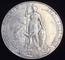 Solid Silver 1908 King Edward VII Florin