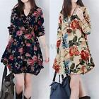ZANZEA Women Long Sleeve Floral Baggy Cotton Linen Mini Shirt Dress Kaftan Tops