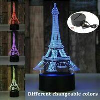 3D LED Illusion USB 7 Colors Bedroom Table Night Light Lamp - Eiffel Tower Paris
