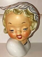 Vintage Ucagco Young Girl Head Vase With Bonnet Gold
