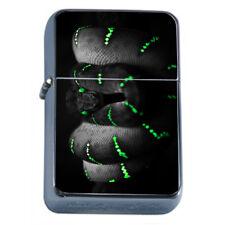 Neon Green Snake Em1 Flip Top Oil Lighter Wind Resistant With Case