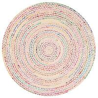 "3x3"" Ft White Braided Round Chindi Area Rag Rug Hardwood Floor Mats Woven Rugs"