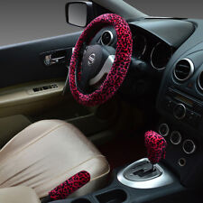 3pcs Leopard Fluffy Car Steering Wheel Cover Protector Vehicle Styling Accessory