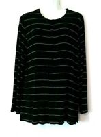 WOMEN'S CHICO'S TRAVELERS BLACK STRIPED SNAP FRONT SLINKY STRETCHY TOP SIZE 2