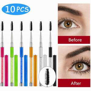 10PC 3D Silk Eyelash Diamond Eye Lashes Boost Extension Mini Brush Kit New US
