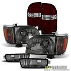 For 2001-2004 Toyota Tacoma Headlightsbumper Lightsred Smoke Tail Brake Lamps