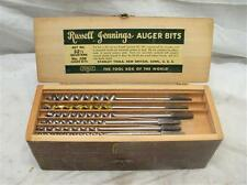 Set Russel Jennings Brace Auger Drill Bits 32-1/2 Quarters Wood Boring Tool +Box