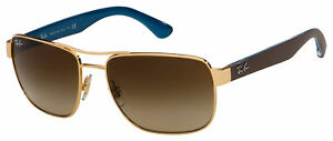Ray-Ban Sunglasses RB 3530 001/13 58 Gold | Brown Gradient Dark Brown Lens