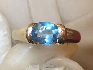 VINTAGE ESTATE 14K GOLD NATURAL BLUE TOPAZ RING NATURAL GEMSTONE 4.09 GRAMS