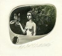 """""""Adam and Eve"""" Nude, Mythology Ex libris  Etching by Maria Noble, Germany"""
