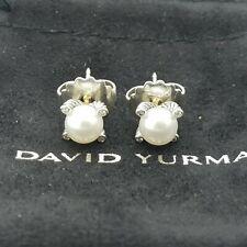 David Yurman Classic Cable Sterling Silver 6'mm Pearl & Diamond Stud Earrings*