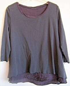 CUT LOOSE Women's S Scoop Neck LS Double Top--Cotton over Rayon-Nylon