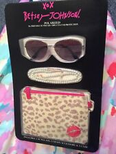 NWT BETSEY JOHNSON Rose Gold Aviator Polarized Rx-able Sunglasses + Accessories