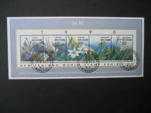 NEW ZEALAND USED MINIATURE SHEET-1990 NATIVE ORCHIDS SG MS 1547