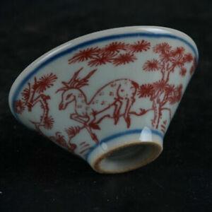 "Chinese Blue and White Porcelain Red Glaze Deer Crane Design Teacup Bowl 3.2"""
