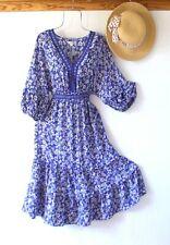 New~$138~Blue Peasant Prairie Western Tiered Smocked Boho Dress~Size Large L