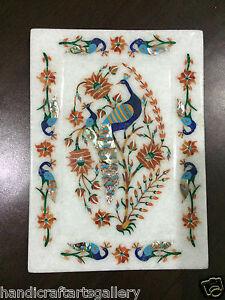 "8""x6"" White Marble Tray Lapis Lazuli Peacock Inlay Kitchen Decorative Gift H2395"