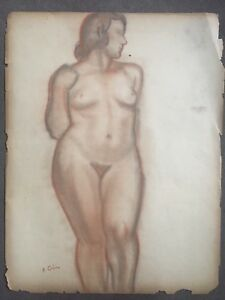 Vintage Original French Nude Charcoal And Pastel Drawing, Circa 1920