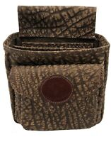 CAPE BUFFALO HIDE SHOTGUN SHELL SPORTING CLAY SKEET TRAP POUCH w/ Emblem - BROWN