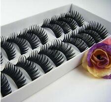 10 Pairs Black Natural Thick False Eyelashes Fake Eye Lashes Make Up