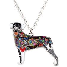 BONSNY Rottweiler Dog Jewellery Necklace Pendant Enamel Charm Women Girls
