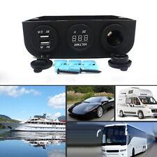 Car Waterproof 12V Dual USB Cigarette Lighter Socket Charger LED Voltmeter Panel