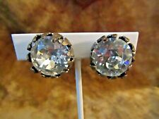 Vintage Miriam Haskell Faceted Large Rhinetone Clip On Earrings
