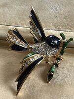 Vintage Enamel Diamanté Bird Brooch