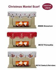 Creative Linens Holiday Christmas Mantel Scarf Snowman Poinsettia Santa Reindeer