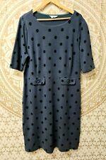 Boden blue polka dot dress - thick stretch jersey cotton - size 22