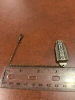 """Vintage Initial """"A"""" Signed True Silver Plate Art Deco Tie Clip Bar With Chain"""
