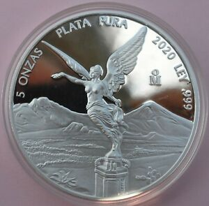 """2020 5oz Silver Libertad Proof """"Treasure Coin of Mexico"""" VERY LIMITED in capsule"""