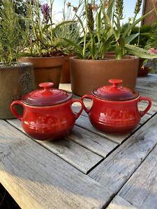 2  Le Creuset Individual Lidded Soup Bowls / Bean Pots Red 0.5l / 16oz