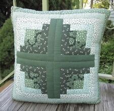 "Hand Crafted Pillow 15"" Green Quilted Floral Patchwork with Removable Insert