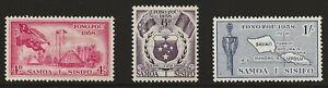 Samoa Scott #220-22, Singles 1958 Complete Set FVF MH