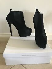 TONY BIANCO Torres Black Kid Suede High Heel Ankle Boots Size 8.5 rrp $219.95