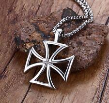 Strong Biker Iron Maltese Cross Necklace Pendant Crusader Germany Rock Punk