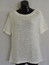 WOMENS WHITE CHUNKY KNIT SHORT SLEEVED TUNIC TOP/JUMPER : SIZE 14