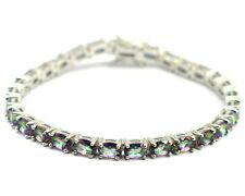 925 Sterling Silver Natural Mystic Topaz Oval Cut Gemstone Tennis Bracelet