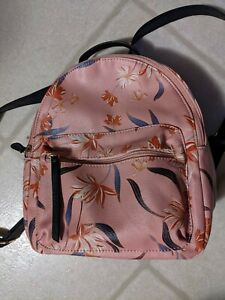 Back Pack Pink Flowers Floral Black Accents outside pockets