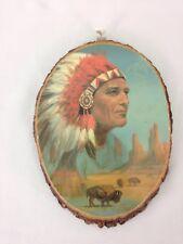 Busch Gardens 149-274 Indian Chief Buffalo USA Made Wood Slice Art Wall Hanging
